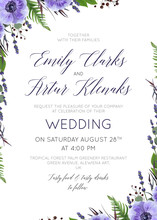Wedding Floral Invite, Invitation, Save The Date Card Design With Watercolor  Lavender Blossom, Violet Anemone Flowers, Forest Greenery Fern, Purple Agonis Leaves & Berries. Rustic, Vector,  Template