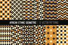 African Ocher, Black And White Geometric Vector Patterns. Ethnic Textile Print In Mud Cloth Colors. Tribal Backgrounds. Set Of Bold Native Textures. Pattern Tile Swatches Included.