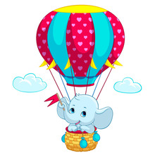 Elephant Baby On Hot Air Ballo...