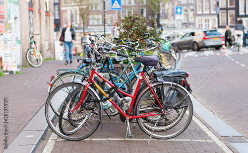 Recess Fitting Bicycle bicycles on the sidewalk in Amsterdam