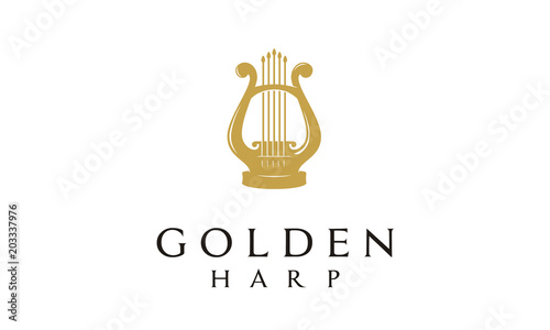 Photo Elegant Golden Greek Harp, Lyre Classic Luxury Gold music instrument Logo design