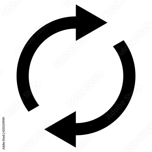 Fotomural Icon swap resumes, spinning arrows in circle, vector symbol sync, renewable prod