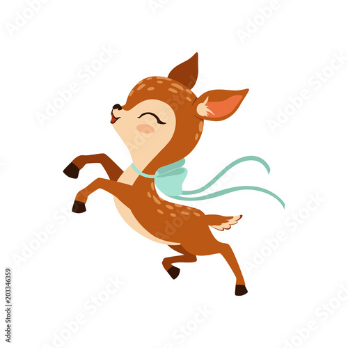 Photo Cute little fawn character with bow on his neck running vector Illustration on a