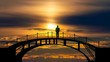 The man standing on a bridge on the picturesque sunrise background. time lapse