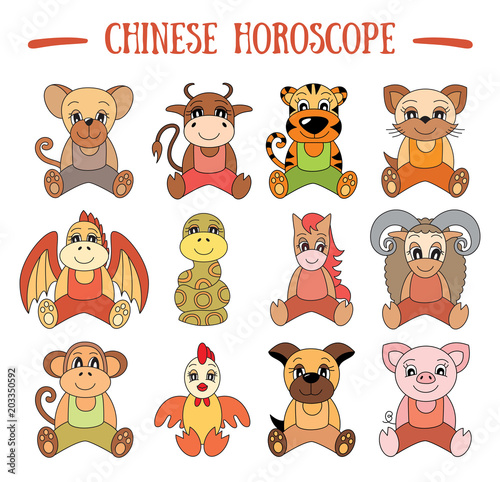 Chinese horoscope collection  Zodiac sign set  Pig, rat, ox