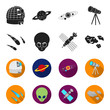 Asteroid, car, meteorite, space ship, station with solar batteries, the face of an alien. Space set collection icons in black,flet style vector symbol stock illustration web.