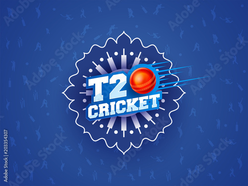 Fotomural T20 Cricket text on blue abstract background.