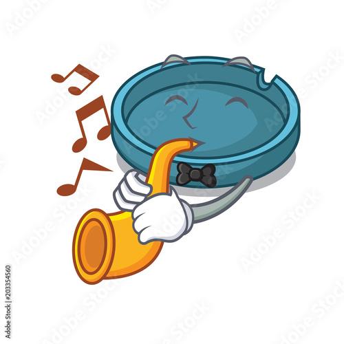 With trumpet ashtray mascot cartoon style Tablou Canvas