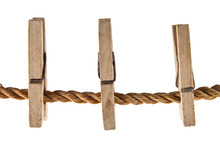 Wooden Clothespins On A Rope I...