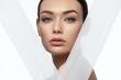 Leinwandbild Motiv Face Skin Beauty. Beautiful Woman With Natural Makeup