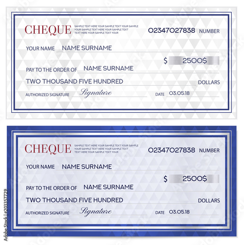check cheque chequebook template abstract pattern with watermark