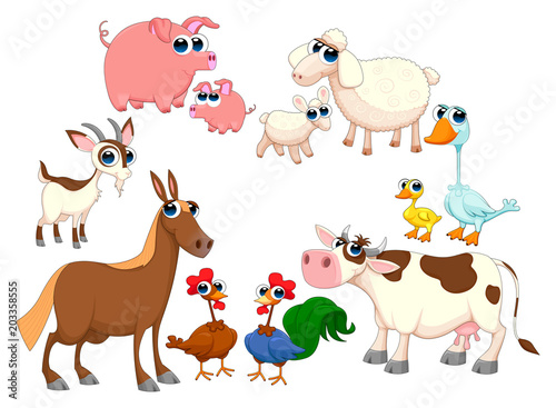 Foto op Plexiglas Kinderkamer Family farm animals