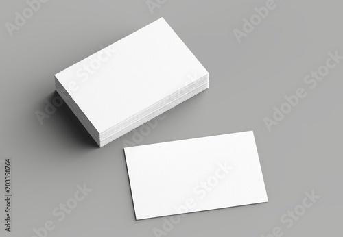 Vászonkép  Business card mock up isolated on gray background