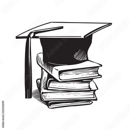 Photo Academic graduation cap on stack of books