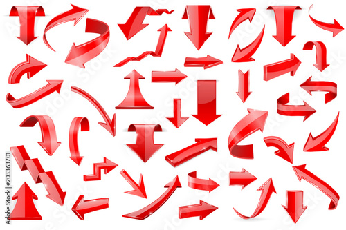 Fotografía  Red arrows. Set of shiny 3d icons isolated on white background