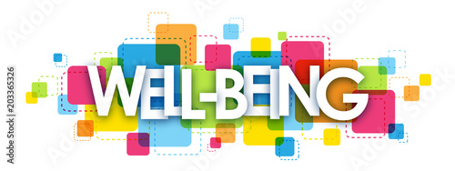 Fototapeta WELL-BEING Vector Letters Collage obraz