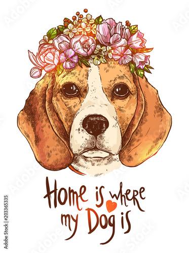 portret-psa-beagle-z-kwiatow-wieniec-kwiatowy-i-cytat-o-psa-i-domu-styl-szkic