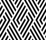 Abstrakcyjny wzór geometryczny z paskami, linie. Bez szwu tła. Biało-czarny ornament. Prosta grafika kratowa - 203365965