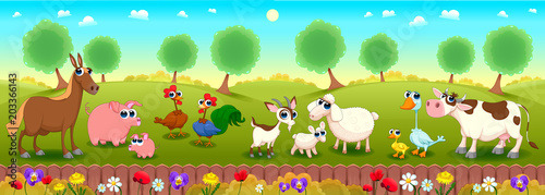 Family farm animals in the nature