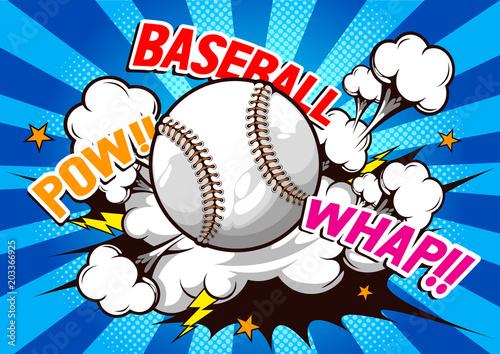 Baseball, komiczna mowa, Wektorowa ilustracja.