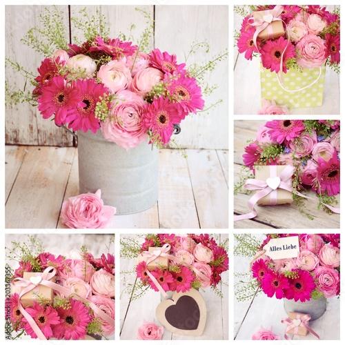 Blumenstrauss Collage Blumen Vintage Mit Geschenk Buy This Stock
