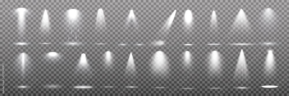 Fototapeta Scene illumination collection, transparent effects. Bright lighting with spotlights.