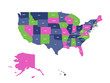 Vector map of USA, United States of America.