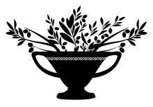 Amphora With Olive Branches. Symbol Of The Mediterranean Culture.