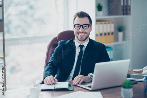 Garden Poster People person leadership success career occupation official event concept. Portrait of cheerful friendly confident owner of big company making notes to the notebook, looking camera, modern light room
