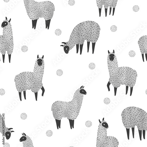 Seamless pattern with cute watercolor llama Slika na platnu