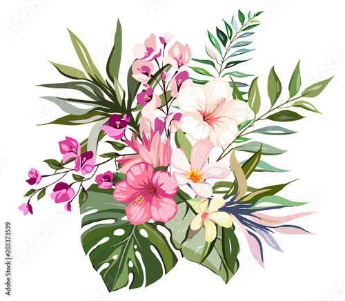 Tropical vector flowers. card with floral illustration ...