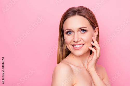 Fotografie, Obraz  Correction enjoy fresh facelift model wellness wellbeing apply smear feminine girlish concept