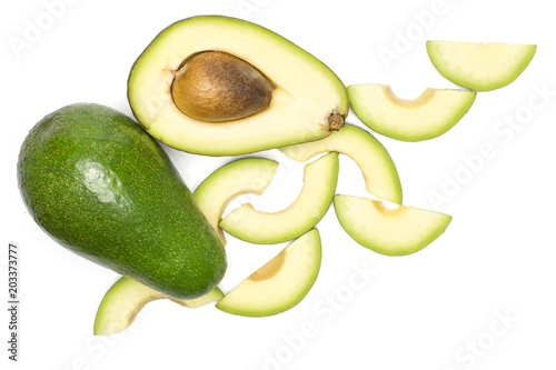 Green Smooth Avocado Set Top View Isolated On White