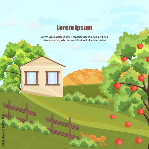 Farm house Vector. Apple tree and grass. Nature beautiful green yard backgrounds