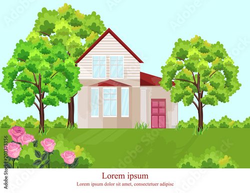 Architecture facade house Vector. Nature beautiful green yard backgrounds