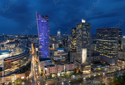Fototapety, obrazy: modern skyscrapers in the center of the Polish capital, Warsaw. Stormy sky