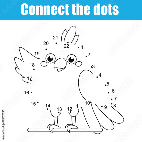 Connect The Dots Children Educational Drawing Game. Dot To Dot By Numbers  Game For Kids. Printable Worksheet Activity For Toddlers With Cartoon  Parrot - Buy This Stock Vector And Explore Similar Vectors