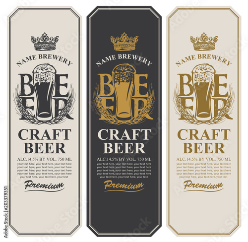 Fényképezés  Set of three beer labels with a full glass of beer, wheat ears, crown and place for text
