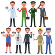 Vector set. Men of different professions. Vector illustration. Smiling person. Eps 10
