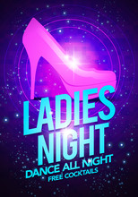 Vector Illustration Ladies Night Dancing Event Flyer Poster Template With High Heeled Shoes And Glossy Background