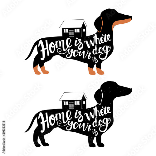 Vector set with dachshunds and houses Wallpaper Mural