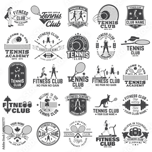Fotografía  Set of fitness and tennis club concept with girls doing exercise and tennis player silhouette