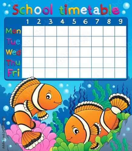 Staande foto Voor kinderen School timetable with clownfish theme