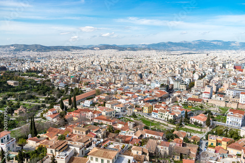 Fotobehang Athene Aerial beautiful cityscape view of Athens. Greece.