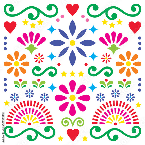 Mexican folk art vector pattern, colorful design with flowers greeting card insp Slika na platnu