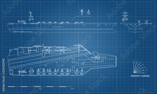 Blueprint of aircraft carrier Tapéta, Fotótapéta