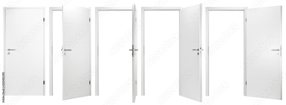 Fototapeta white wooden modern interior door collection set with different open closed situations isolated on white background