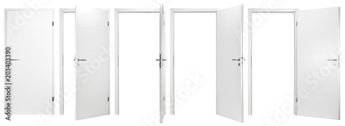 Fototapeta white wooden modern interior door collection set with different open closed situ
