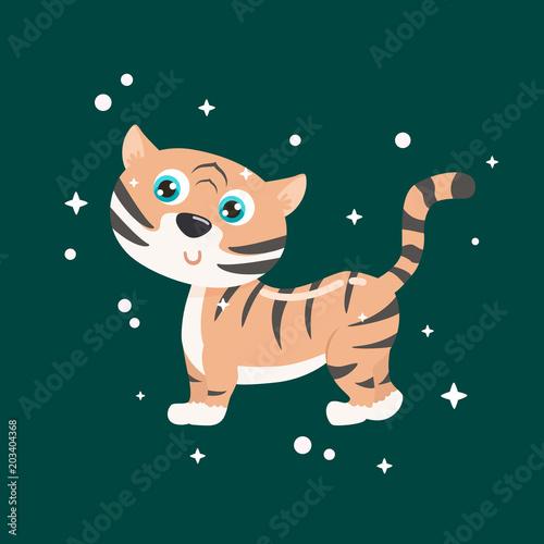 Deurstickers Babykamer Cute tiger vector illustration. Flat design