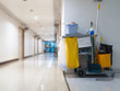 canvas print picture - Cleaning tools cart wait for maid or cleaner in the hospital. Bucket and set of cleaning equipment in the hospital. Concept of service, worker and equipment for cleaner and health
